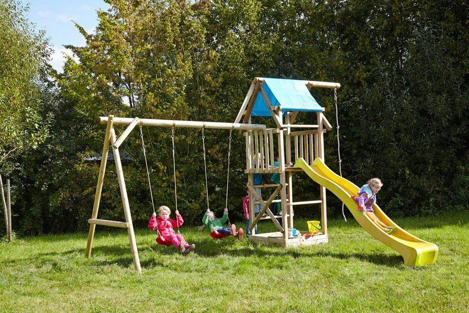 Dein Spielplatz Spielturm mit Doppelschaukel, Knotenseil und Rutsche, gelb, »Asterix XL« in gelb