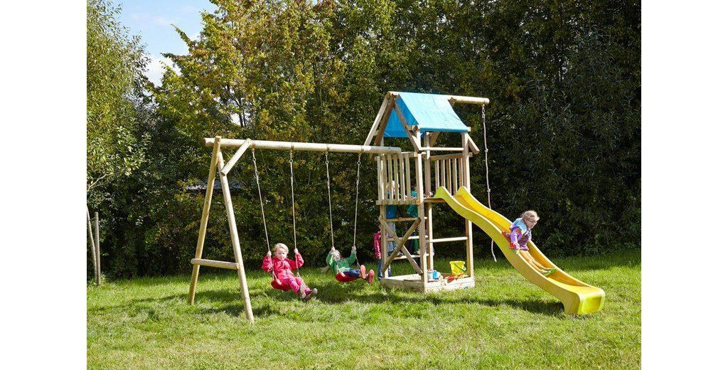 Dein Spielplatz Spielturm mit Doppelschaukel, Knotenseil und Rutsche, gelb, »Asterix XL«