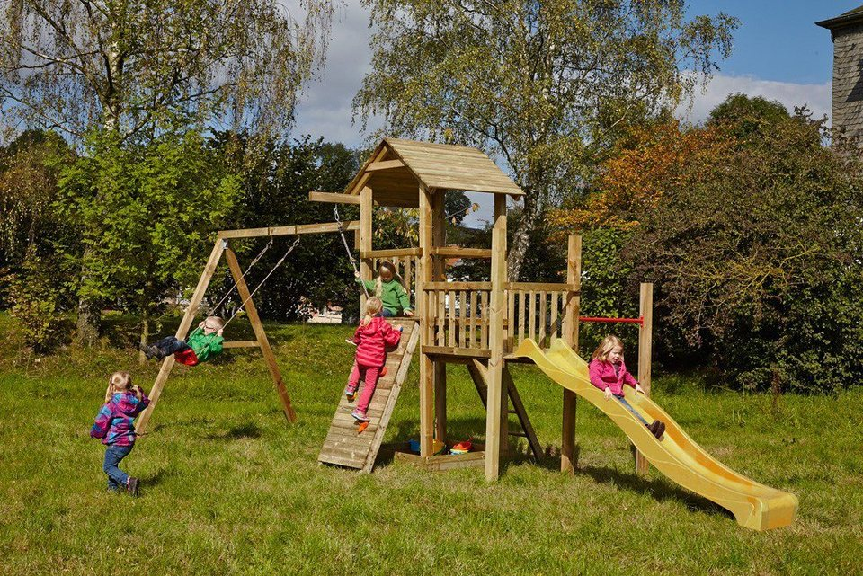 Dein Spielplatz Spielturm mit Rutsche, gelb, »Pirate & Princess 1« in gelb