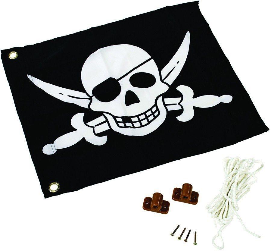 Dein Spielplatz Fahne mit Hisssystem zur Montage am Spielturm, »Pirat« in schwarz