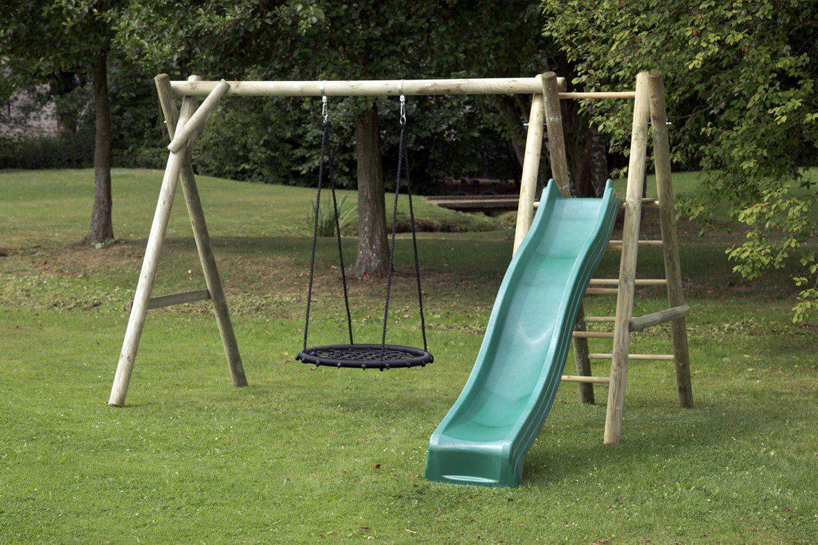 Dein Spielplatz Schaukel mit Nestschaukelsitz und Wellenrutsche, grün, »Justin«