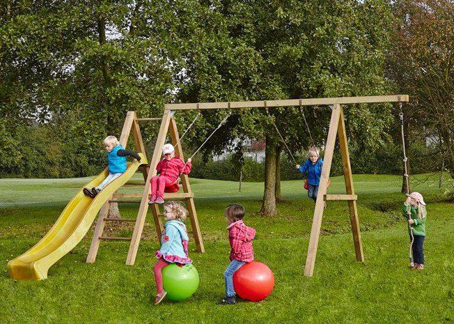 Dein Spielplatz Schaukel mit Knotenseil und Wellenrutsche, gelb, »Leni Premium«