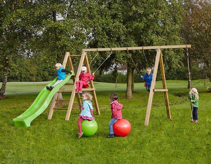 Dein Spielplatz Schaukel mit Knotenseil und Wellenrutsche, hellgrün, »Leni Premium« in hellgrün