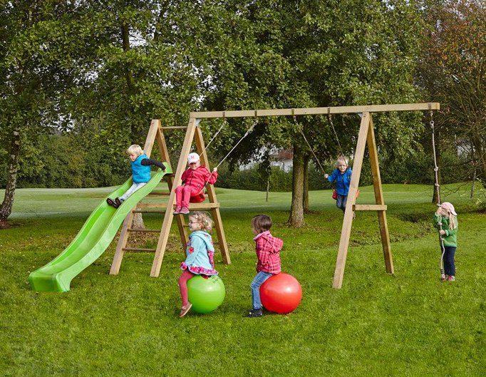 Dein Spielplatz Schaukel mit Knotenseil und Wellenrutsche, hellgrün, »Leni Premium«