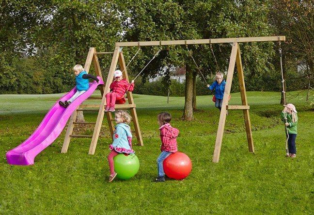 Dein Spielplatz Schaukel mit Knotenseil und Wellenrutsche, pink, »Leni Premium« in pink