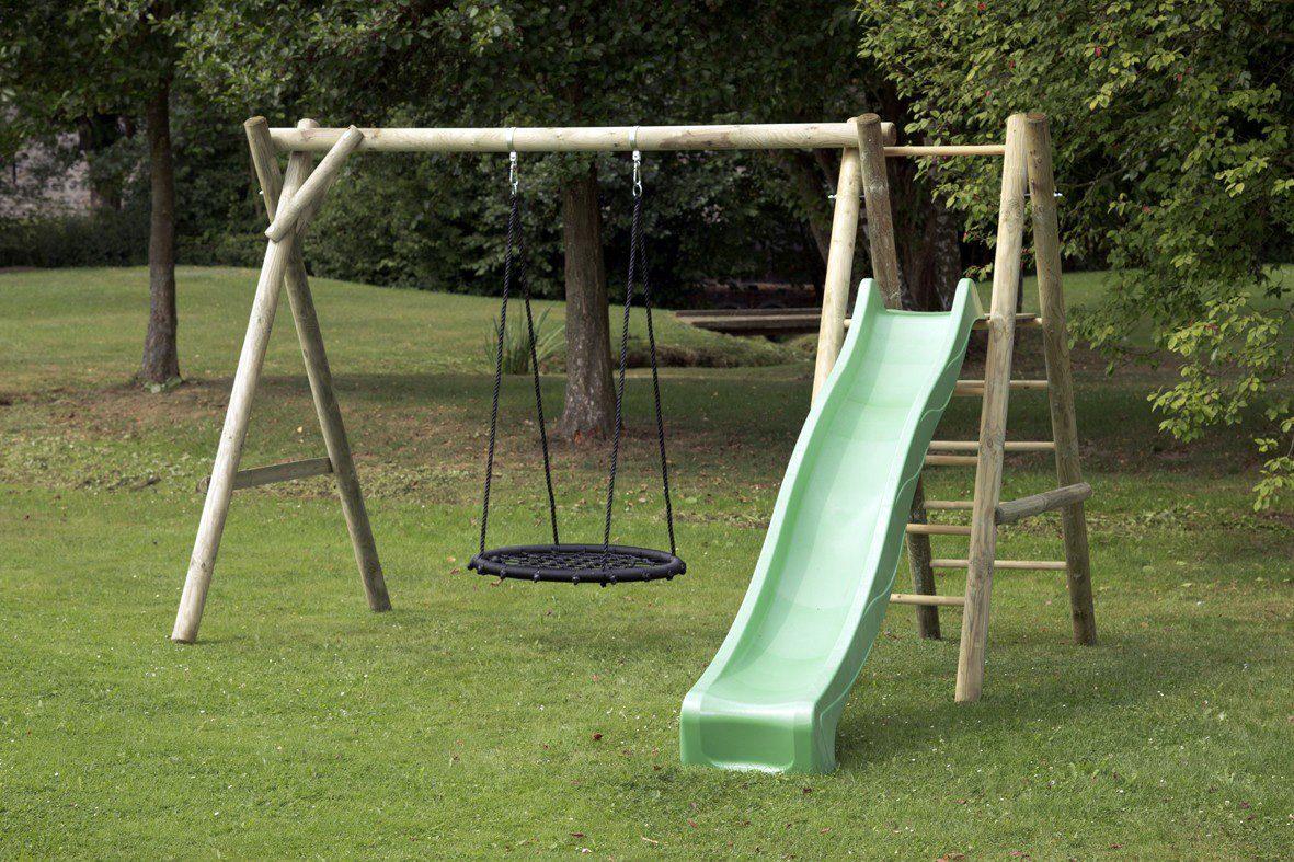 Dein Spielplatz Schaukel mit Nestschaukelsitz und Wellenrutsche, hellgrün, »Justin«