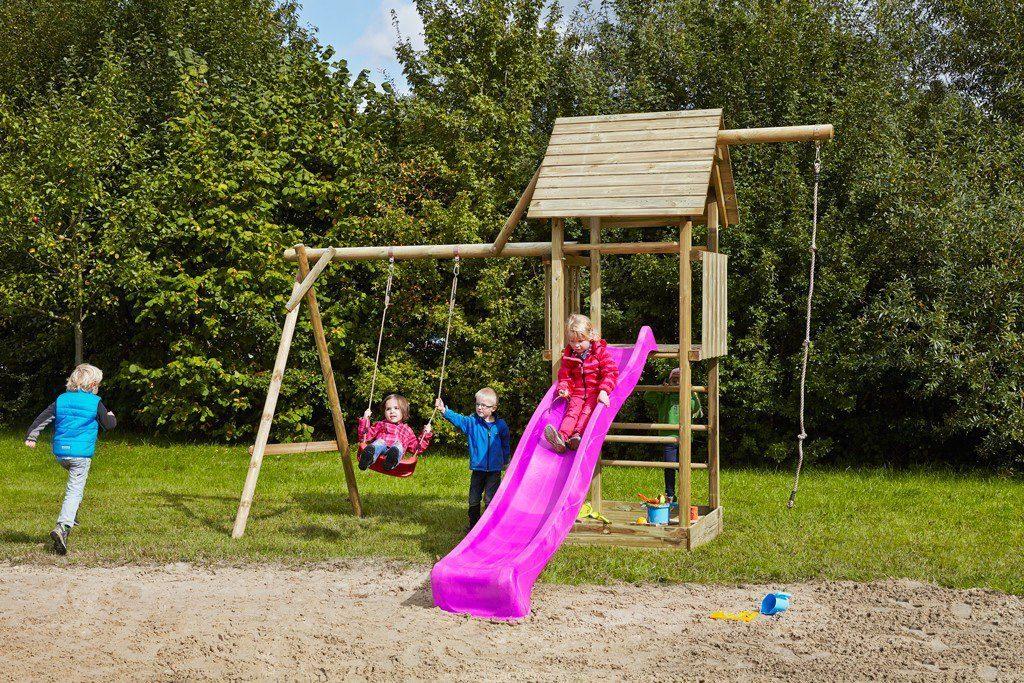 Dein Spielplatz Spielturm mit Schaukel, Knotenseil und Rutsche, pink, »Obelix«