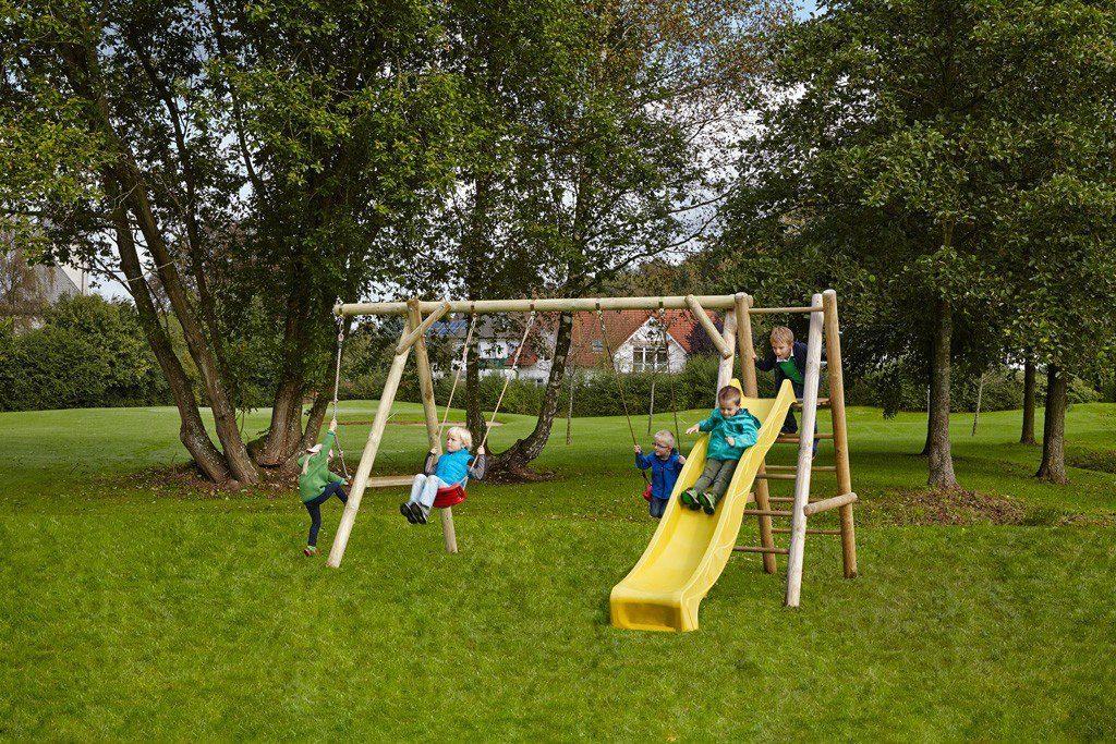 Dein Spielplatz Schaukel mit Knotenseil und Wellenrutsche, gelb, »Leni Classic«