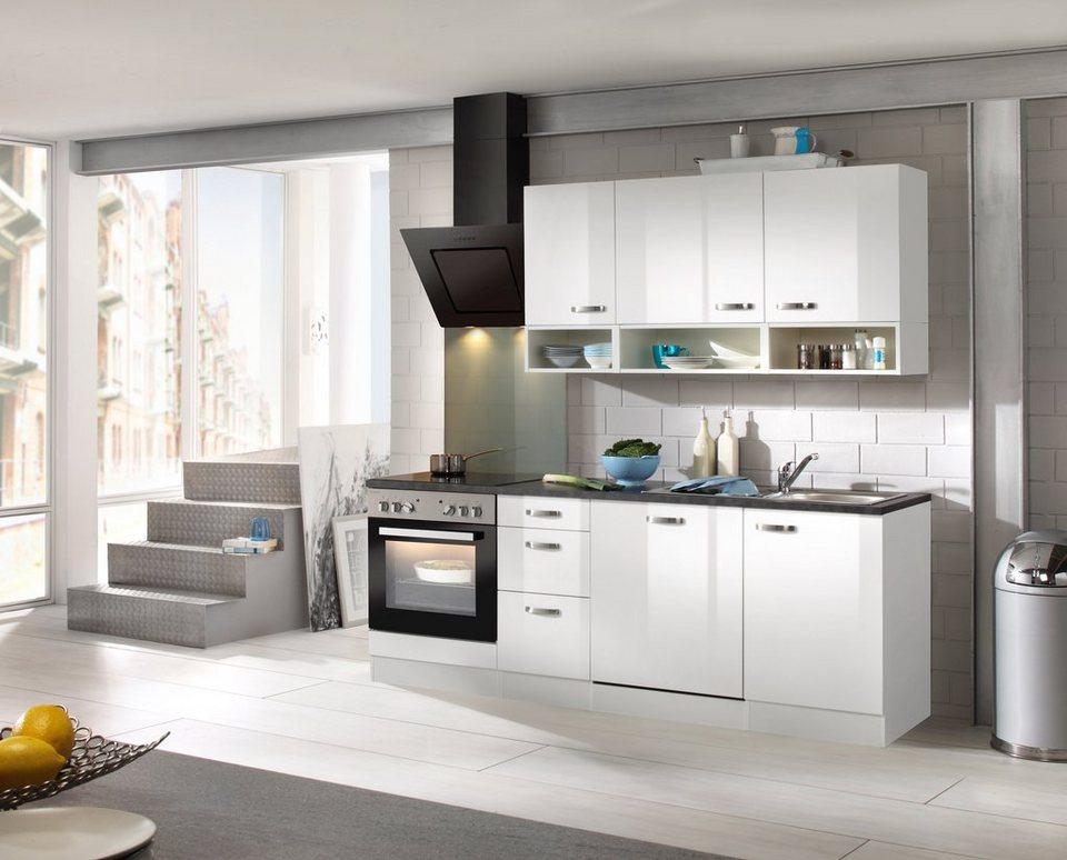 Küchenzeile mit E-Geräten »Lagos 210 cm« in weiß