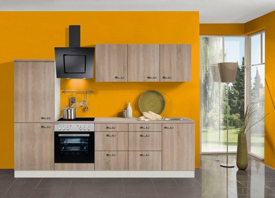 Küchenzeile mit E-Geräten »Padua, Breite 270 cm« in eichefarben hell
