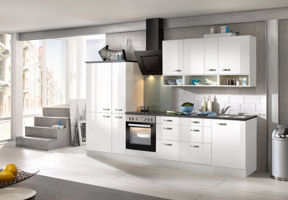 Küchenzeile mit E-Geräten »Lagos, Breite 300 cm« in weiß
