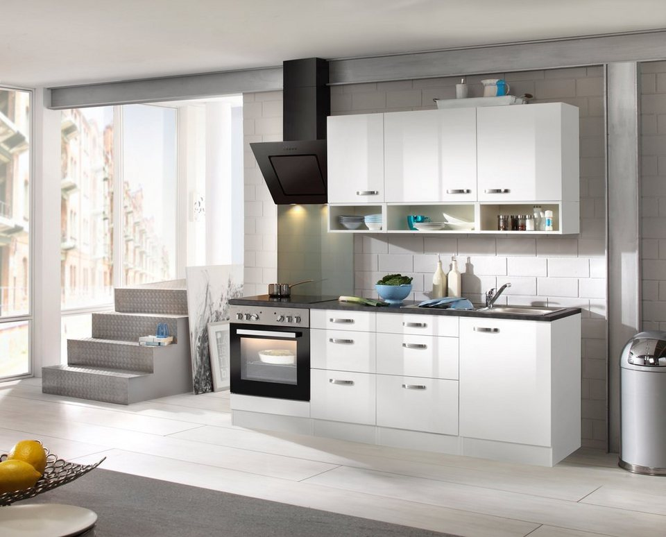 Küchenzeile mit E-Geräten »Lagos, Breite 210 cm« in weiß