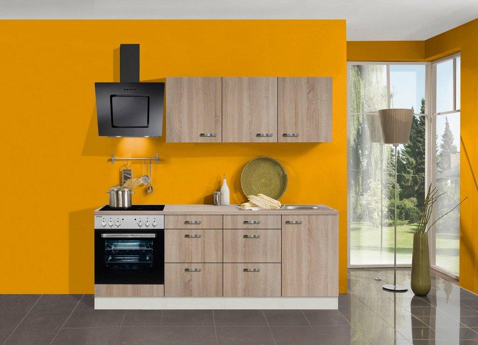 Küchenzeile mit E-Geräten »Padua, Breite 210 cm« in eichefarben hell