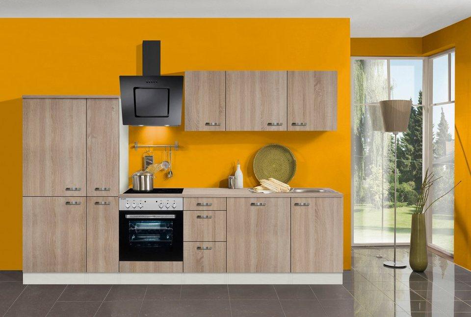 Küchenzeile mit E-Geräten »Padua, Breite 300 cm« in eichefarben