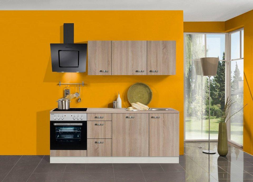 Küchenzeile mit E-Geräten »Padua, Breite 210 cm« in eichefarben