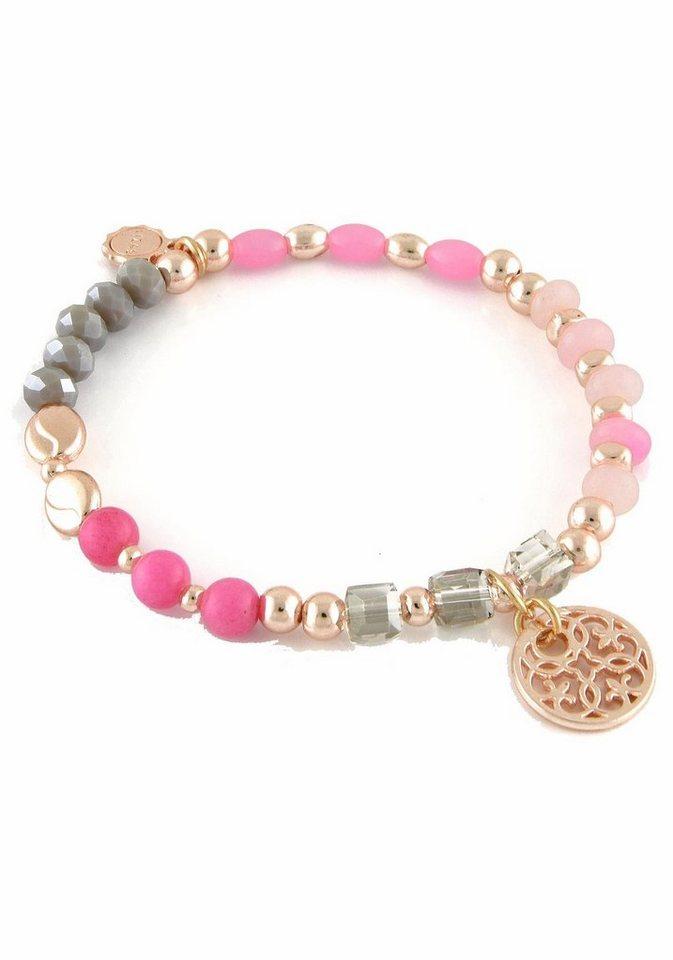Lizas Armband »19342« mit Glas- und Jadesteinen in roségoldfarben-grau-rosa-nude