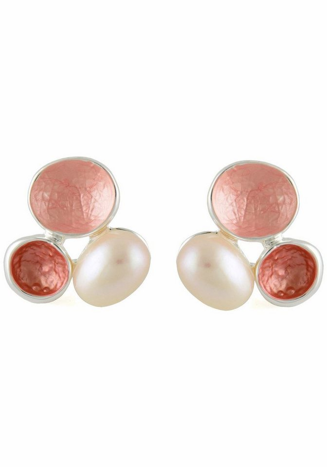 Lizas Paar Ohrstecker »34220« in silberfarben-weiß-koralle-rosa
