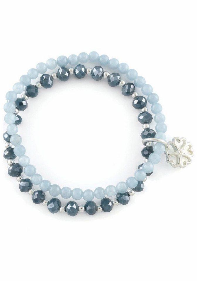 Lizas Armband »Herz, 19268« mit Glas- und Jadesteinen in silberfarben-blau