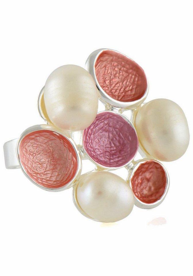 Lizas Fingerring »61988« mit Süßwasserzuchtperle in silberfarben-weiß-koralle-rosa