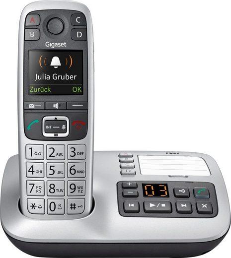 Gigaset »E560 A« Schnurloses DECT-Telefon (Mobilteile: 1, mit Anrufbeantworter, Weckfunktion, Freisprechen)