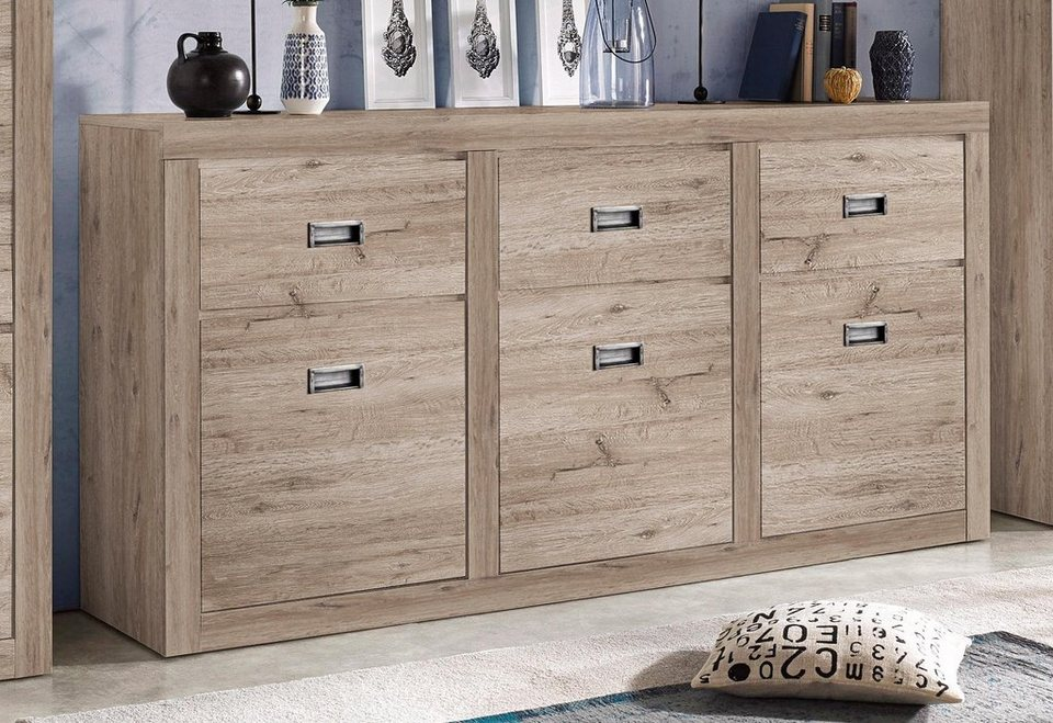sideboard breite 186 cm 3 t ren online kaufen otto. Black Bedroom Furniture Sets. Home Design Ideas