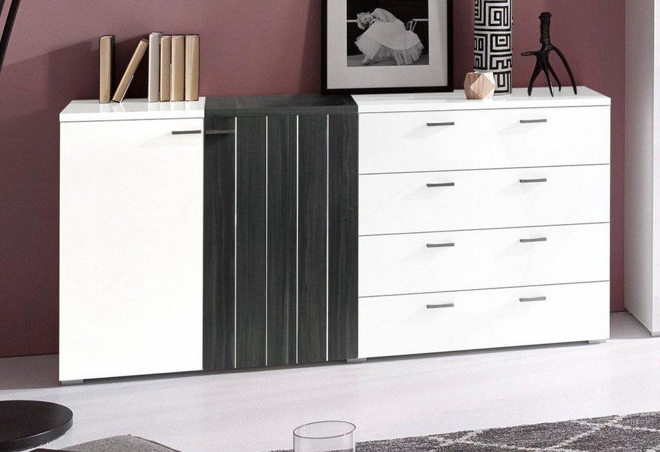 Sideboard, Breite 165 cm in weiß/kernnussbaumfarben schwarz