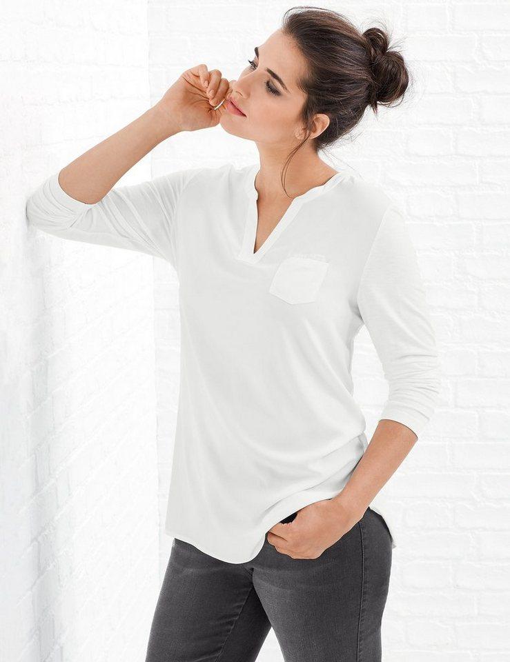 Samoon T-Shirt Langarm Rundhals »Longshirt« in Off-White