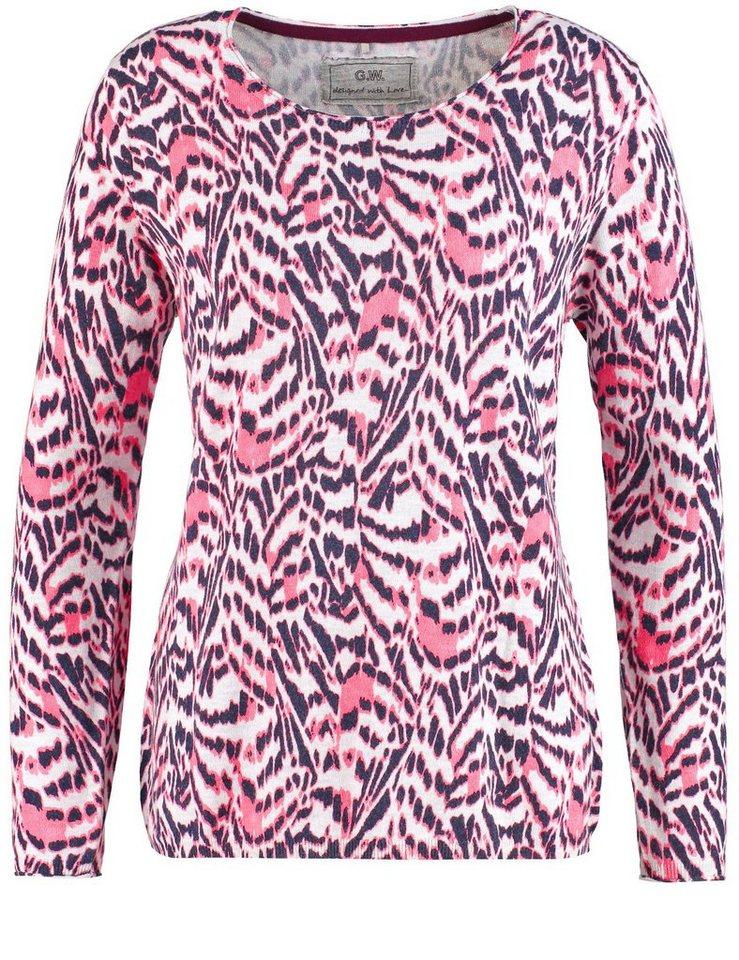 Gerry Weber Pullover Langarm Rundhals »Pullover mit Animalprint« in Sorbet-Grey-Animal-P