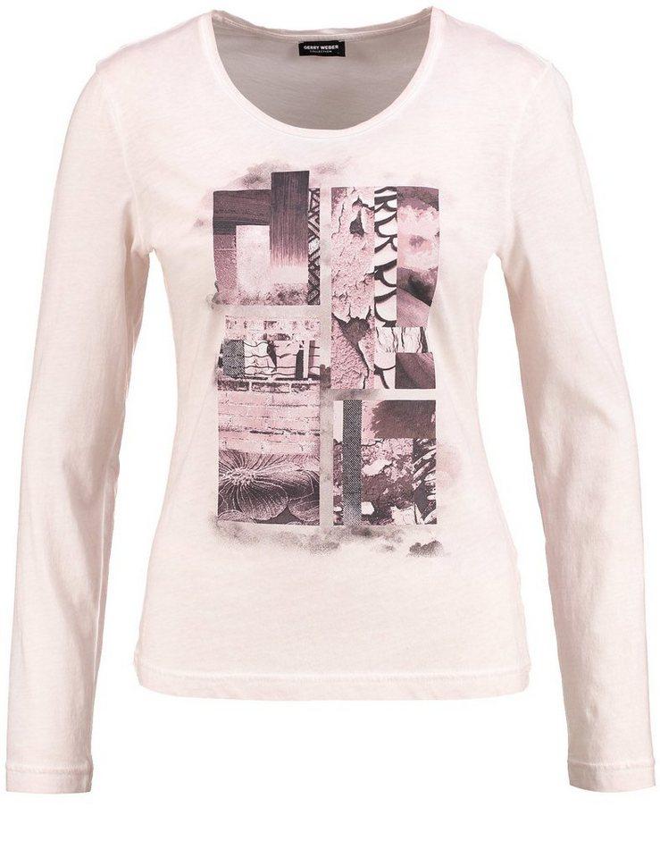 Gerry Weber T-Shirt Langarm Rundhals »Langarmshirt mit platziertem Print« in Puder