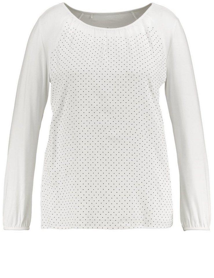 Samoon T-Shirt Langarm Rundhals »Shirt mit dekorativer Blusen-Front« in Offwhite Applikation