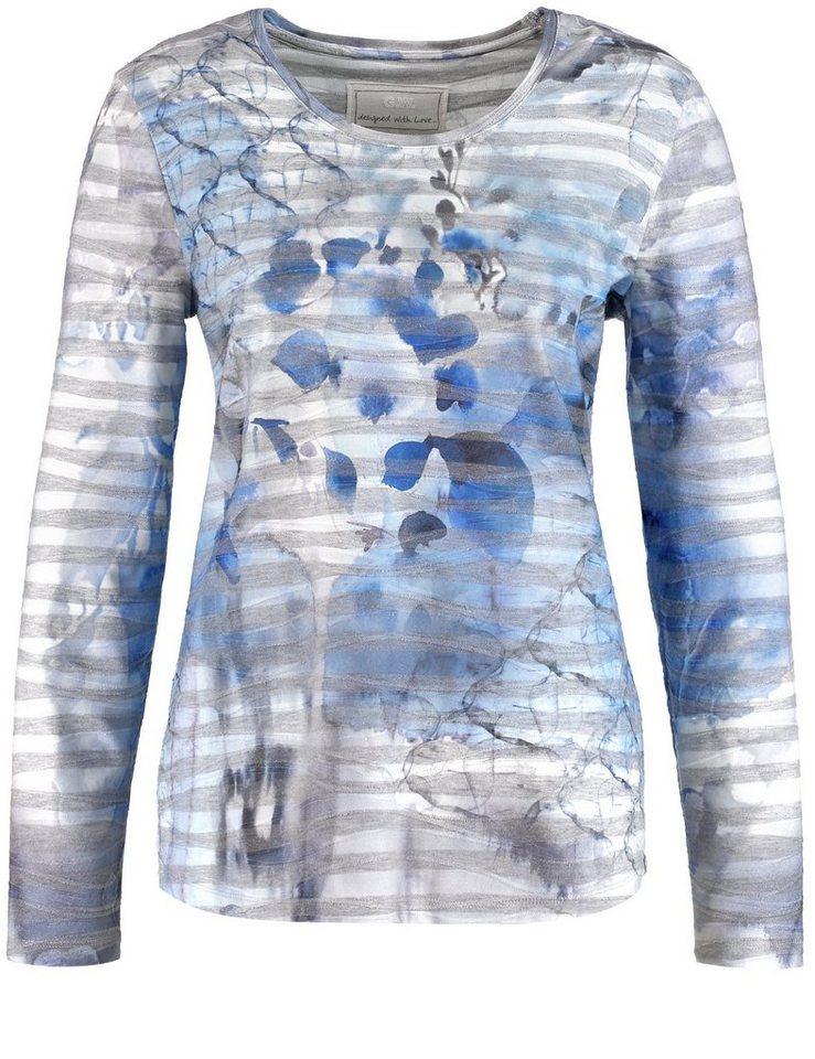 Gerry Weber T-Shirt Langarm Rundhals »Langarmshirt mit Wellenstruktur« in Dove Blue-Grey-Allov
