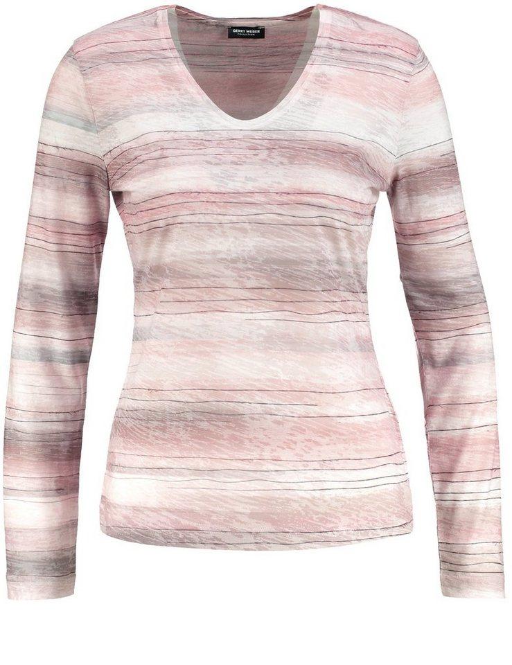 Gerry Weber T-Shirt Langarm Rundhals »Langarmshirt mit Querstreifen« in Lila-Pink-Ecru-Weiß
