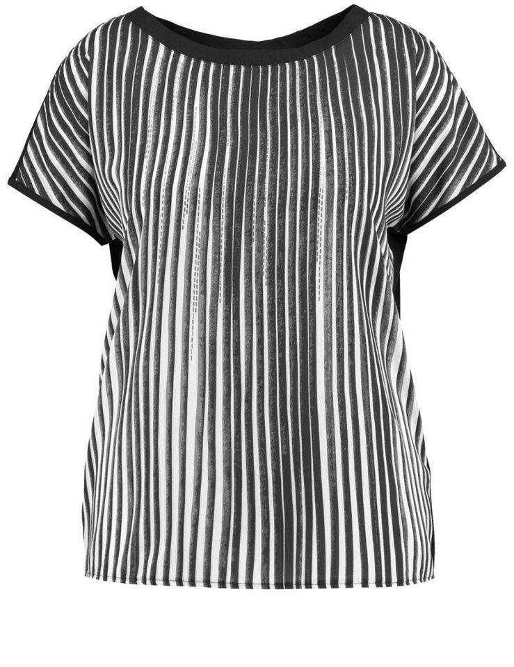 Samoon T-Shirt Kurzarm Rundhals »Ärmelloses Blusenshirt« in Schwarz Druck