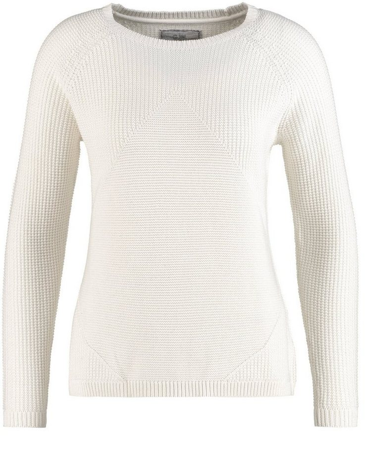 Gerry Weber Pullover Langarm Rundhals »Pullover mit Strukturstrick« in Wool White
