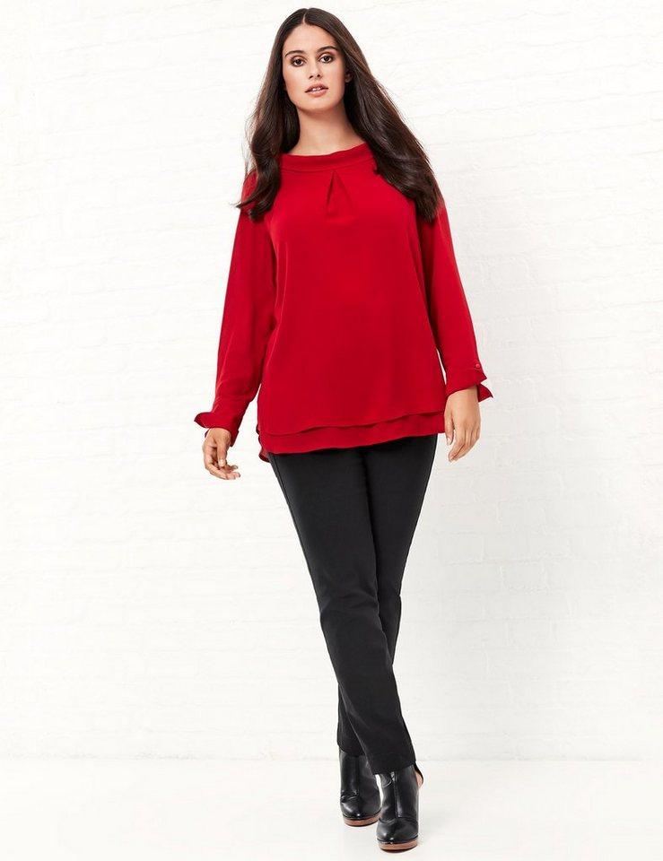 Samoon Longbluse Langarm »Ausgestellte Bluse mit Stehkragen« in True Rot