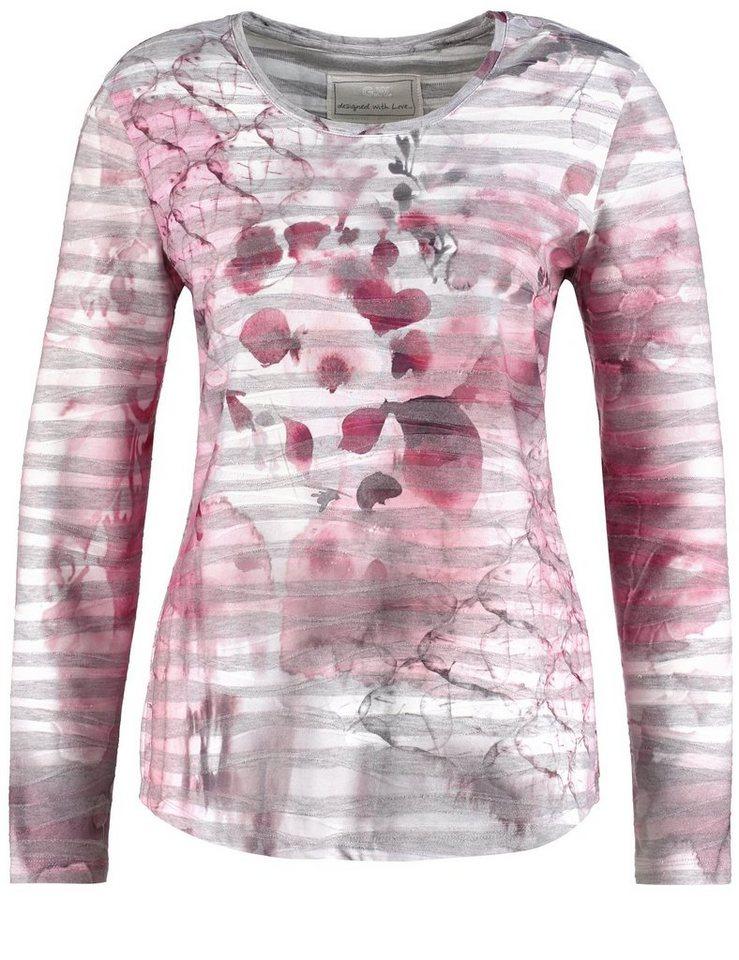 Gerry Weber T-Shirt Langarm Rundhals »Langarmshirt mit Wellenstruktur« in Sorbet-Grey-Alloverp