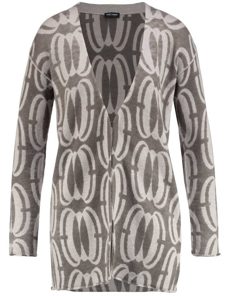 Gerry Weber Jacke Strick »Strickjacke mit markantem Muster« in Taupe Two Tone