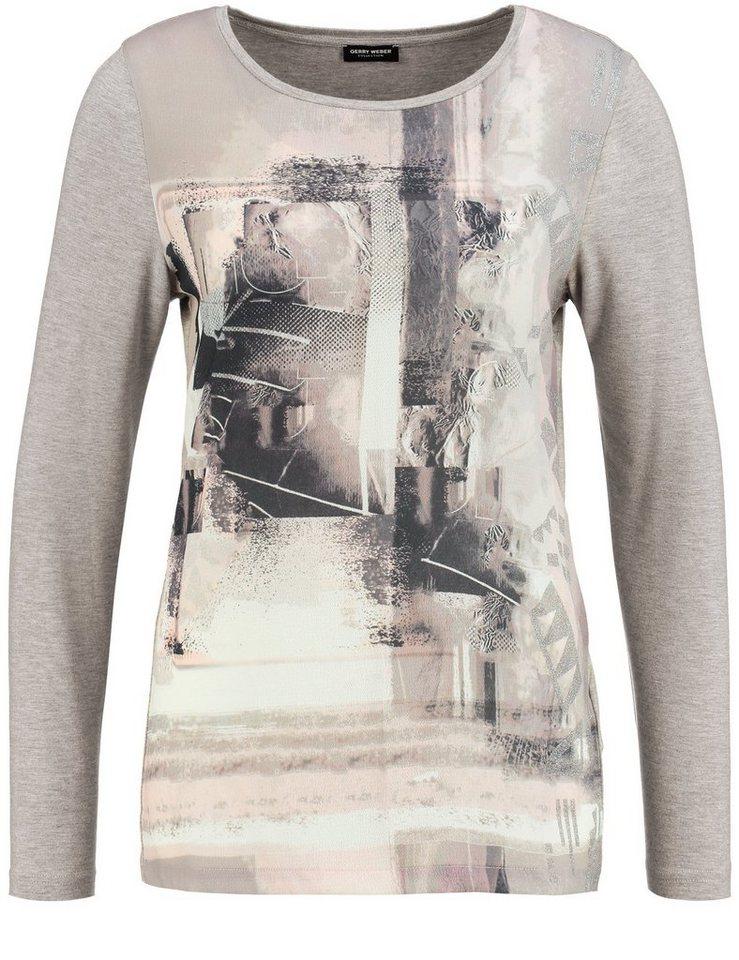 Gerry Weber T-Shirt Langarm Rundhals »Langarmshirt mit Frontdruck« in Lila-Pink-Grau Druck