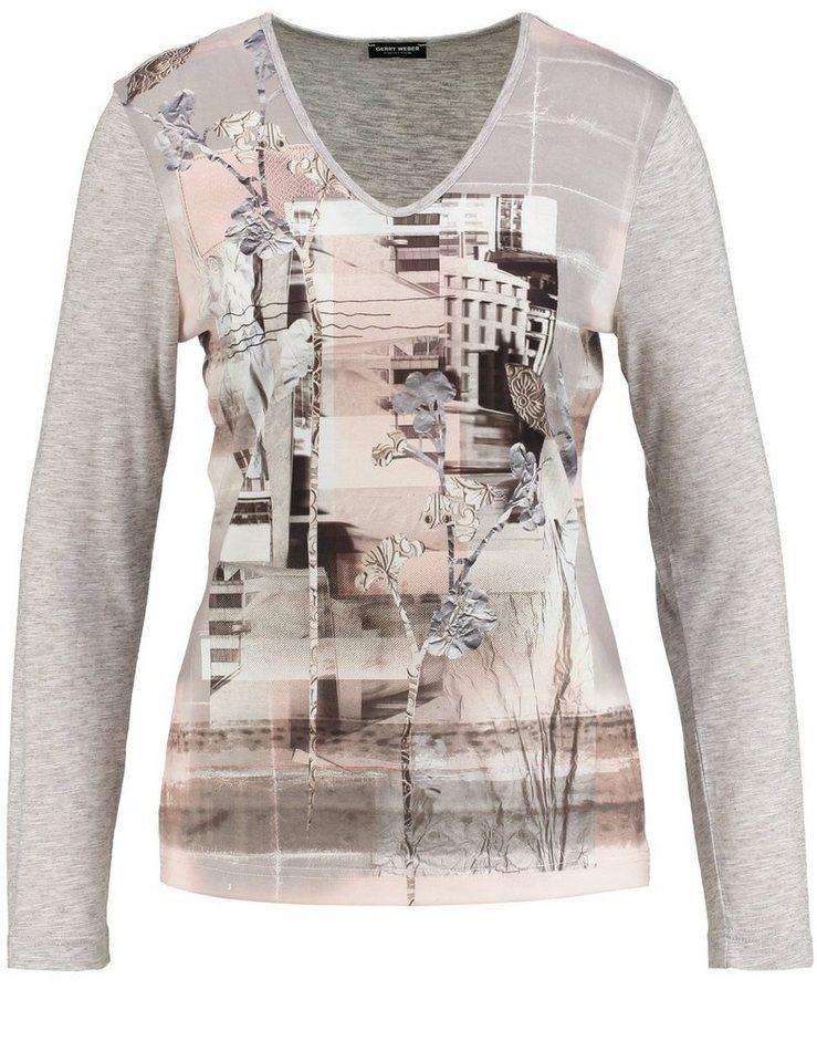 Gerry Weber T-Shirt Langarm »Shirt mit bedrucktem Vorderteil« in Grau-Lila-Pink Druck