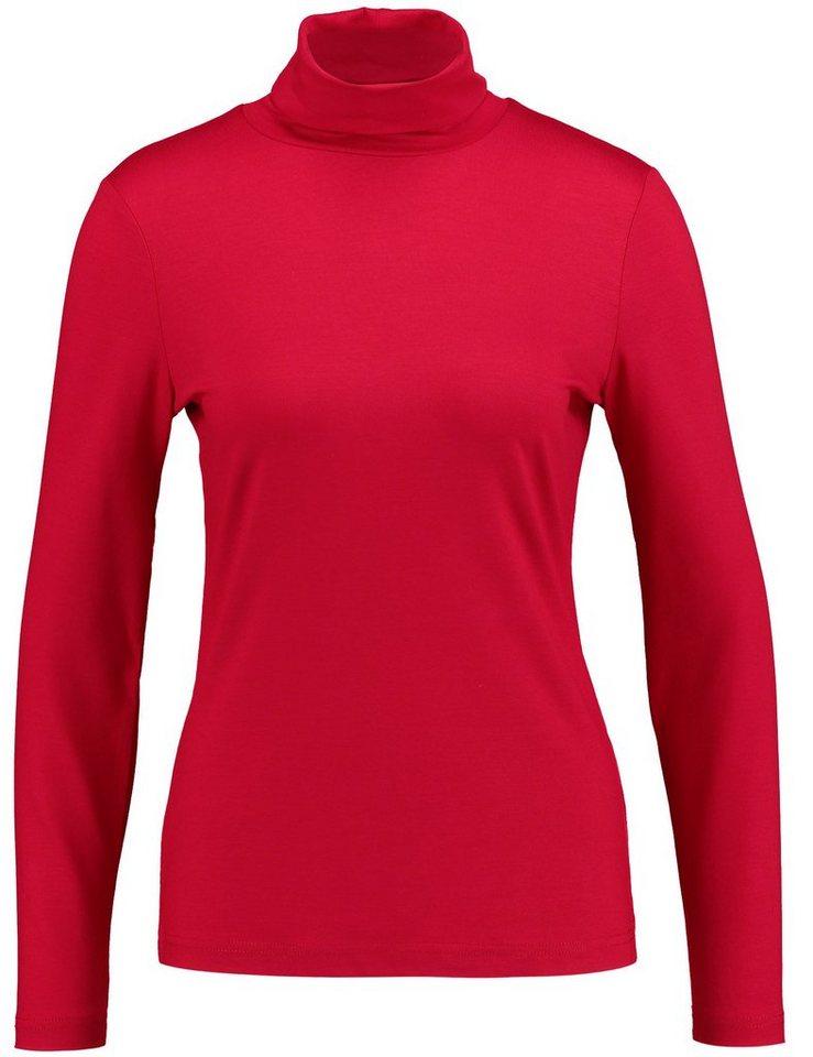 Gerry Weber T-Shirt Langarm Rundhals »Langarmshirt mit Rollkragen« in Rot