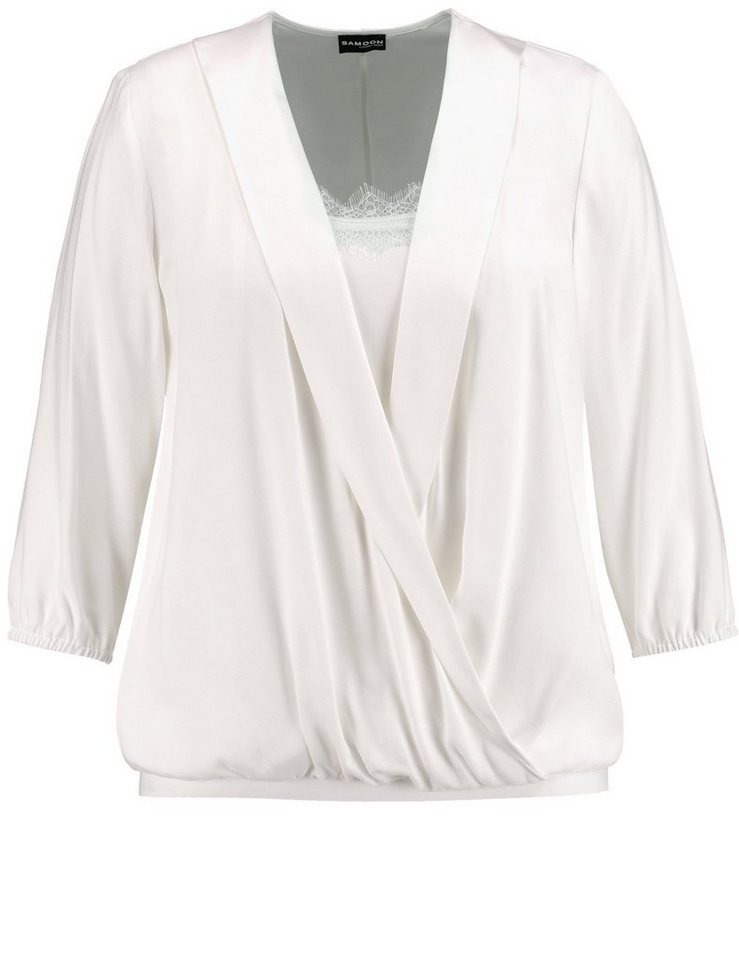 Samoon Bluse 3/4 Arm »Wickelbluse im Layering-Look« in Off-White