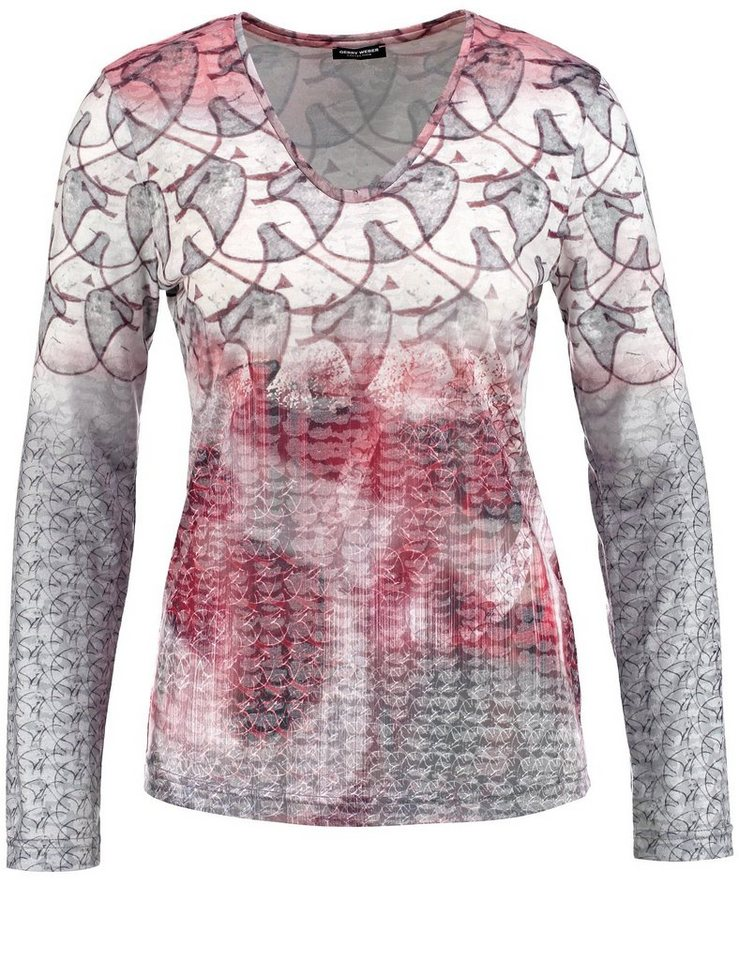 Gerry Weber T-Shirt Langarm Rundhals »Langarmshirt mit Mustermix« in Marsala-Zinn-Marzipa