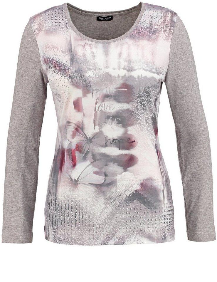 Gerry Weber T-Shirt Langarm Rundhals »Langarmshirt mit Frontdruck« in Taupe/Puder Druck