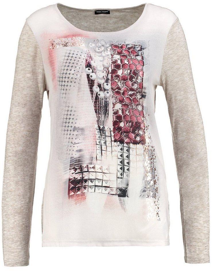 Gerry Weber T-Shirt Langarm Rundhals »Langarmshirt mit platziertem Print« in Marsala-Marzipan Dru
