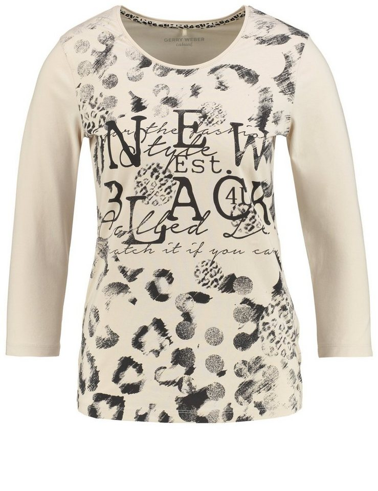Gerry Weber T-Shirt 3/4 Arm »3/4 Arm Shirt mit Frontdruck« in Ecru-Weiß-Schwarz Dr