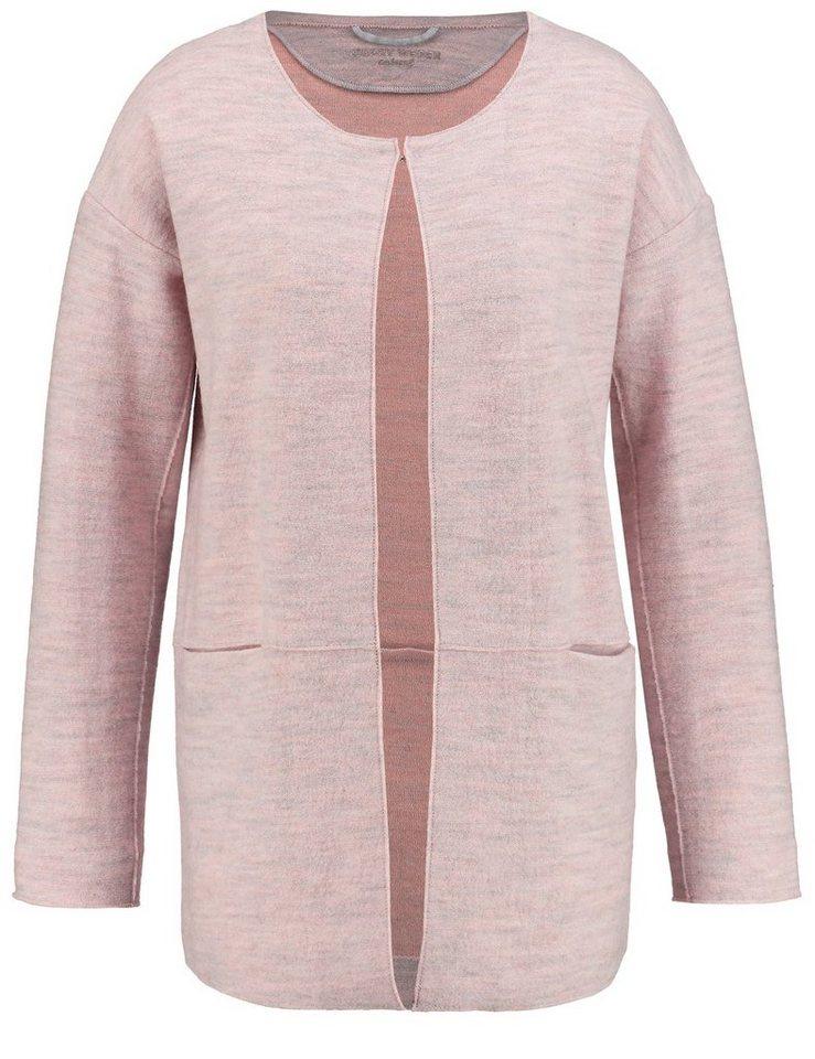 Gerry Weber Jacke Strick »Longjacke aus gekochter Wolle« in Lila-Pink-Grau Gemus