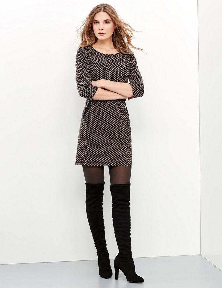 Taifun Kleid Gewirke »Jersey-Kleid mit Jacquard-Dessin« in Toffee gemustert