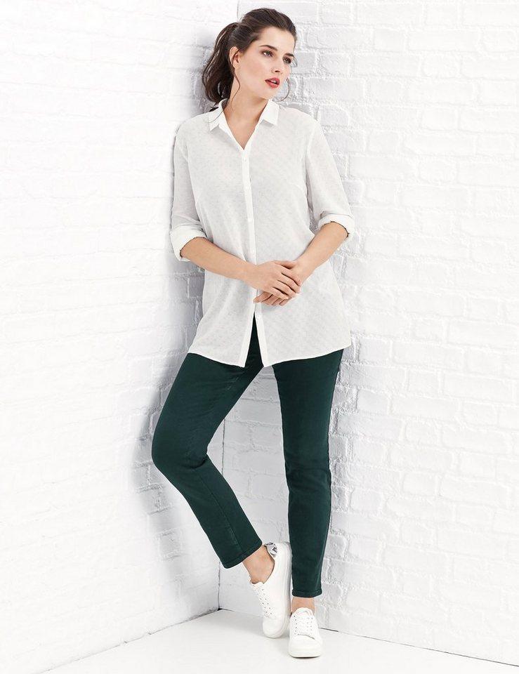 Samoon Bluse Langarm »Jacquard Bluse« in Off-White