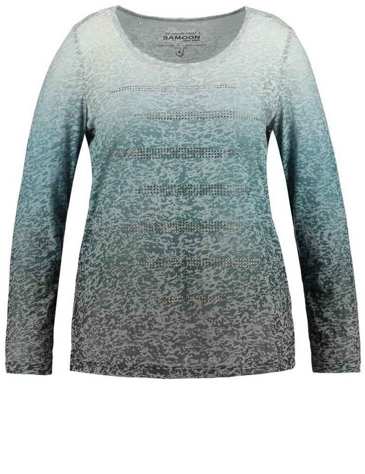 Samoon T-Shirt Langarm Rundhals »Ausbrenner-Shirt mit Steinchen« in Grün Druck