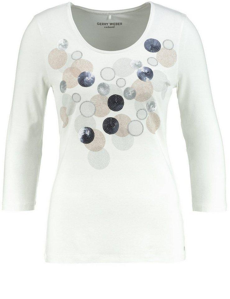 Gerry Weber T-Shirt 3/4 Arm »3/4 Arm Shirt mit Paillettenapplikation« in Ecru-Weiß Druck